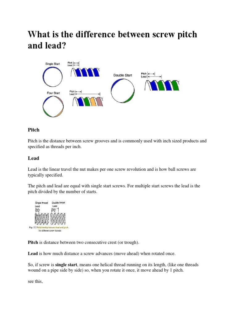What is the difference between screw pitch and lead docx