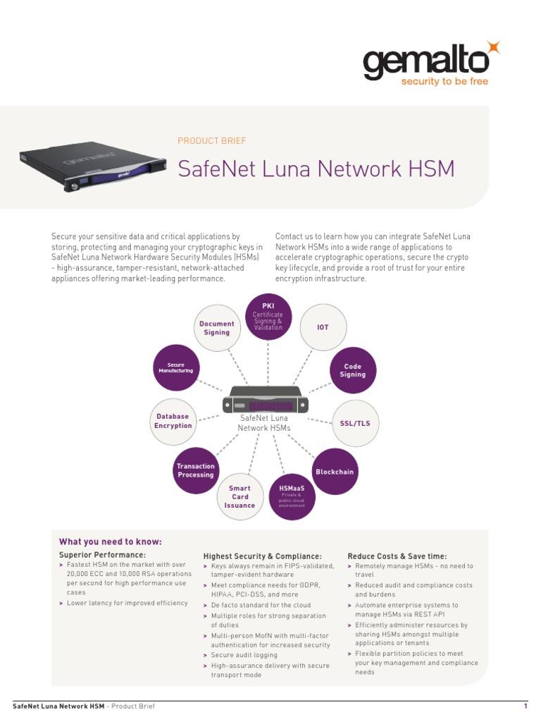 Safenet Luna Network Hsm Product Brief | Security Engineering
