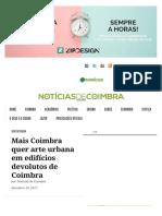 Mais Coimbra quer arte urbana em edifícios devolutos de Coimbra | Notícias de Coimbra