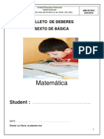 Folleto de Deberes de Matematica de 6to