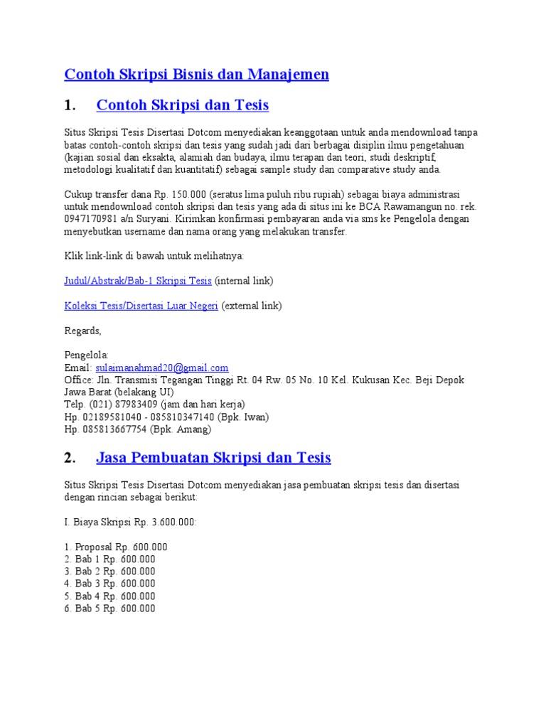 Contoh Skripsi Bab 1 Manajemen - Ide Judul Skripsi Universitas