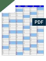 2019 Calendar Ianuarie Iunie