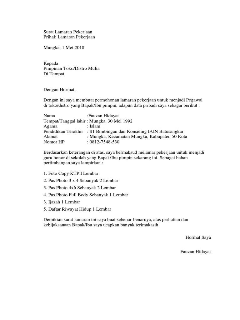 99 Contoh Surat Lamaran Kerja Untuk Toko Emas