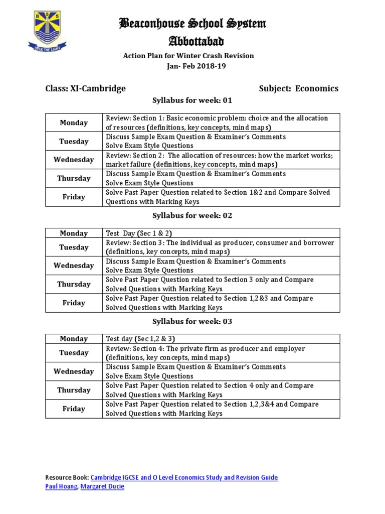 Syllabus Weekly Breakdown of the 6-Week Crash Revision Plan