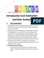 Introduction Cost Estimation and Rate Analysis
