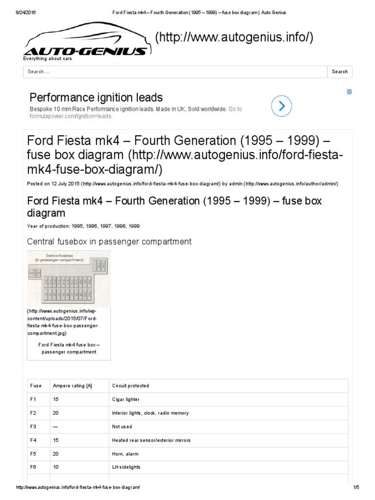 Ford Fiesta mk4 – Fourth Generation (1995 – 1999) – fuse box ... 2011 ford fiesta se fuse box diagram Scribd
