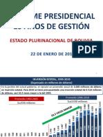 El informe de Evo Morales plasmado en cuadros y diapositivas