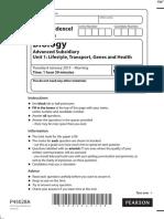 January 2015 (IAL) MS - Unit 1 Edexcel Biology a-level