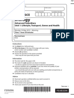 June 2012 MS - Unit 1 Edexcel Biology a-level