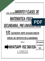 Reforzamiento y Clases de Matematica