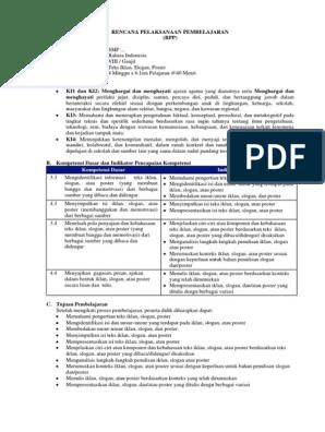 Contoh Rpp K13 Bahasa Indonesia Teks Iklan Slogan Dan Poster Terbaru Disertai Literasi Ppk 4c Dan Hots