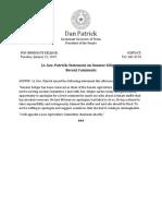 PR 01 22 2019 Lt. Gov. Patrick Statement on Senator Seliger Comments