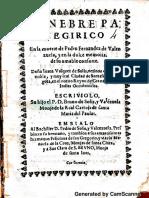 Panegirico a la muerte de Don Pedro Fernandez de Valenzuela - Literatura de la colonia