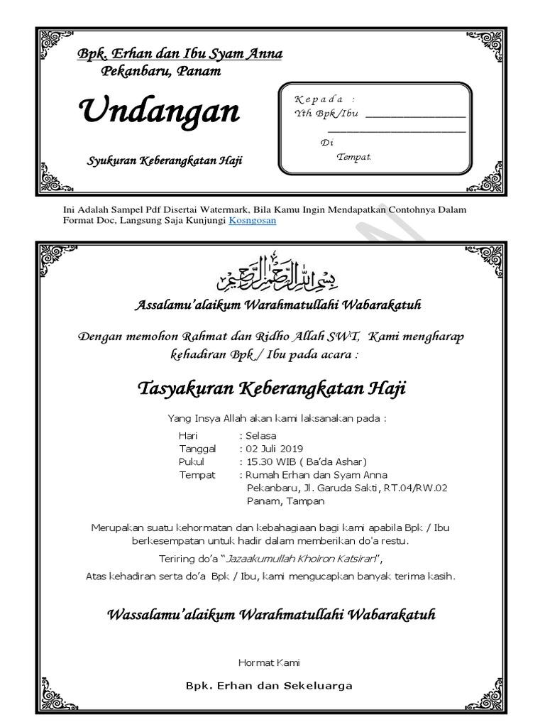 Contoh Undangan Tasyakuran Haji