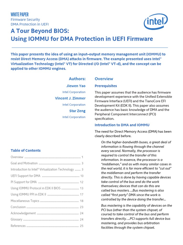 A Tour Beyond BIOS: Using IOMMU for DMA Protection in UEFI Firmware