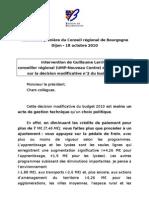 Discours de Guillaume Larrivé au Conseil régional de Bourgogne le 18 octobre 2010