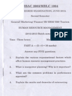 HRM Previous year question paper