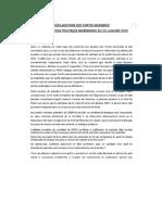 Déclaration des partis membres de l'Opposition politique nigérienne  23 Janvier 2019