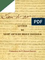 LETTRES DE SAINT ANTOINE-MARIE ZACCARIA Traduction du P. Gérard Daeren
