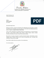 Carta de condolencias del presidente Danilo Medina a Jatnna Tavárez por fallecimiento de su padre, Joaquín Antonio Tavárez Glas