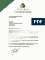 Carta de solidaridad del presidente Danilo Medina a Iván Duque, presidente de la República de Colombia, por víctimas de coche bomba en Escuela Policial General Santander