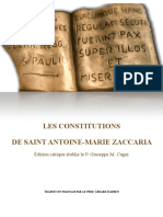 LES CONSTITUTIONS DE SAINT ANTOINE-MARIE ZACCARIA ~ Édition critique établie le P. Giuseppe M. Cagni 2019