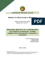 2018 - 2019 - Programa Analítico - Ley de Aduanas