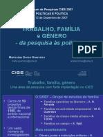 TRABALHO, FAMÍLIA  e GÉNERO - da pesquisa às políticas -