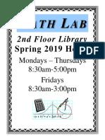 mathlab hours spring2019