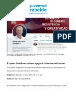Expresa Presidente cubano apoyo al Gobierno bolivariano