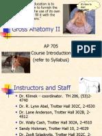 Gross Anatomy II Intro 2007
