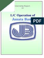 Internship Report on L C Operation of Janata bank