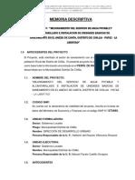 MEMORIA DESCRIPTIVA DE UN PROYECTO DE SANEAMIENTO
