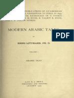 Modern Arabic Tales. Volume I - Littmann