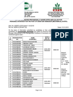 List of Candidates for Interview - Assistant Manager Mechanical Rfcl Website