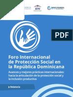 Relatoría / Memoria - Foro Internacional de Protección Social en República Dominicana