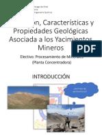Definición, Característica y Propiedades Geológicas y de Minerales en Los Yacimientos Mineros