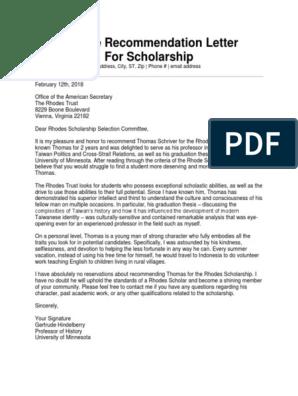 Letter of Recommendation Sample for Scholarship