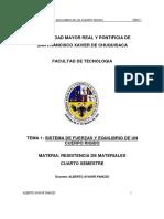 SISTEMA DE FUERZAS Y EQUILIBRIO DE UN CUERPO RIGIDO