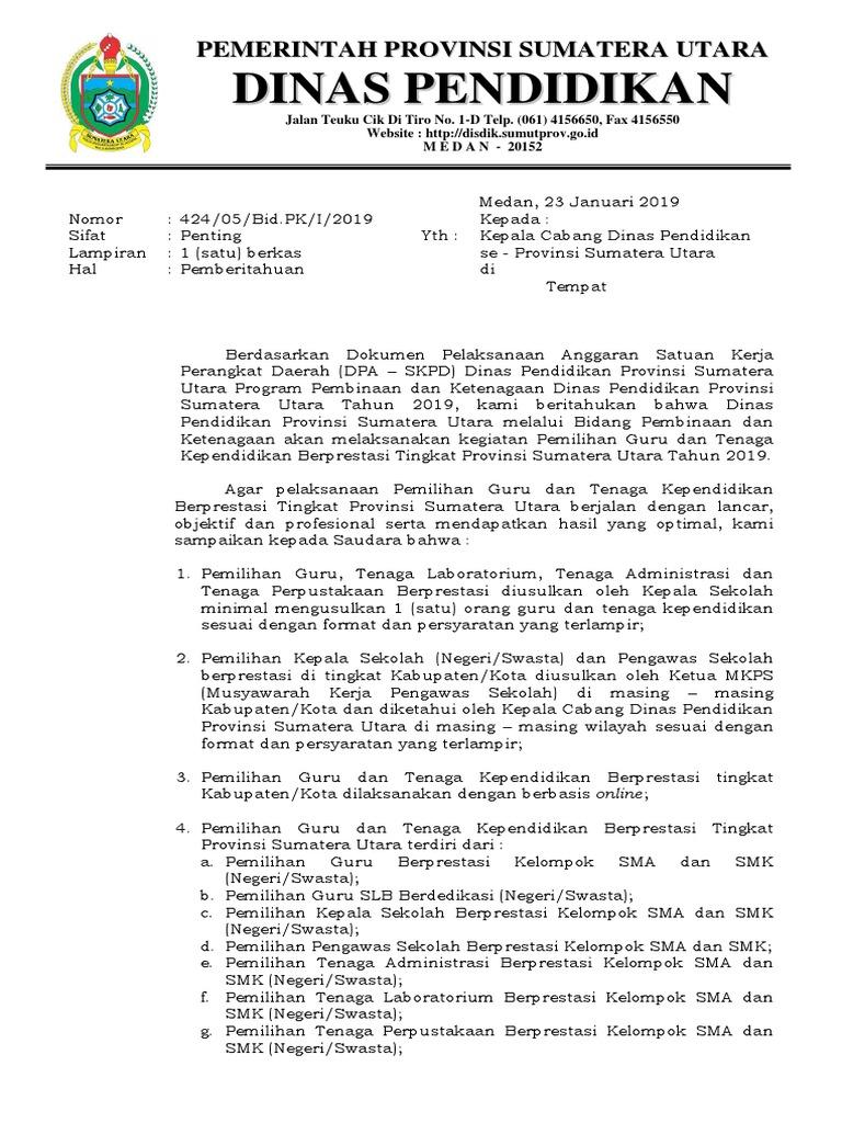 Kop Surat Dinas Pendidikan Provinsi Sumatera Utara ...