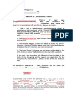 Affidavit of Loss Drivers License