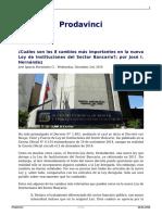 Cuales Son Los 8 Cambios Mas Importantes en La Nueva Ley de Instituciones Del Sector Bancario