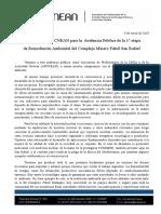 Declaración de APCNEAN para la audiencia pública de San Rafael