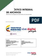 Diagnóstico Integral de Archivo del Ministerio de Tecnologías de la Información y las Comunicaciones (MINTIC) de Colombia 2016