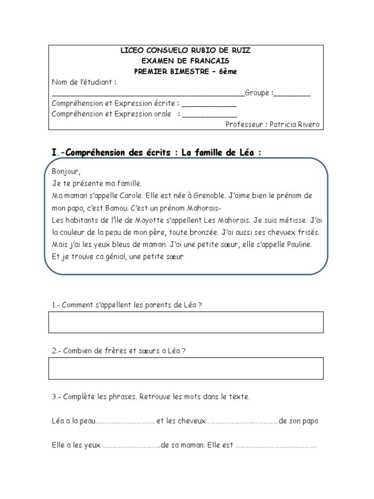 Examen Premier Bimestre 2016 6ième