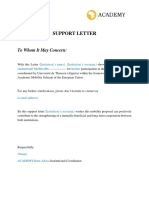 Support Letter Template ACADEMY