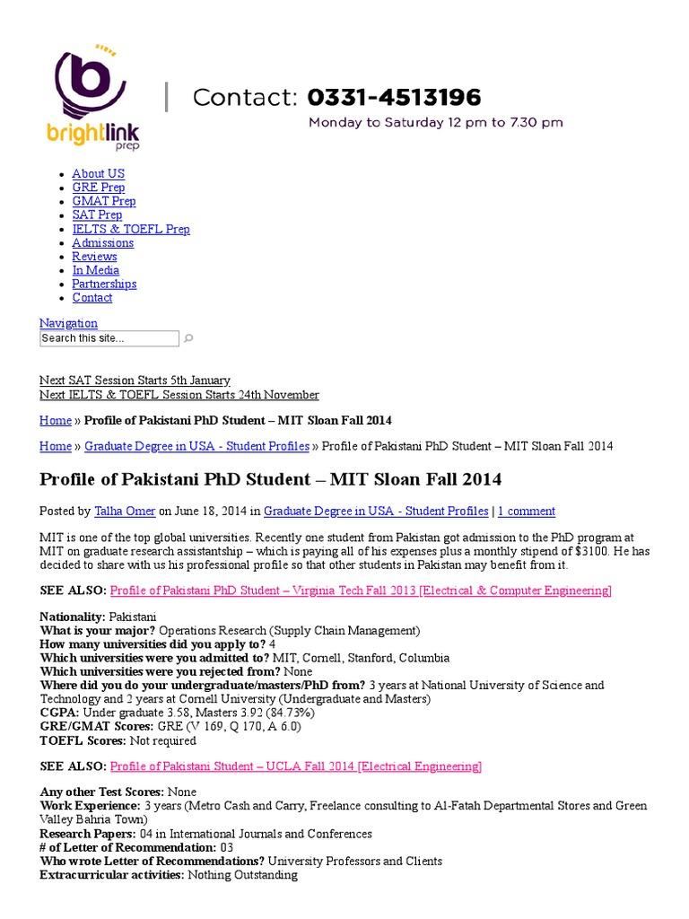 Profile of Pakistani PhD Student - MIT Sloan Fall 2014 _