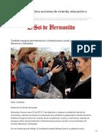 22-01-2019 Entrega Gobernadora acciones de vivienda educación e infraestructura - El Sol de Hermosillo