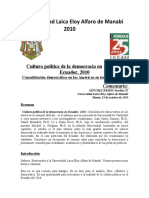 Cultura Politica, Democracia Ecuador 2010