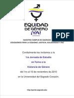 1ra Jornada de Estudio  en Torno a la  Violencia de Género